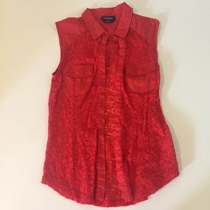 Bebe Red Lace Casual Button Down Top Blouse
